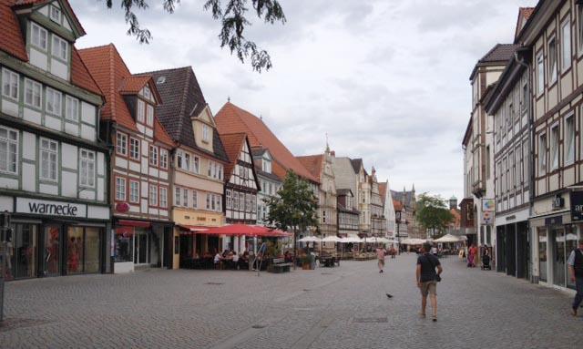 Stadsvy från Hameln, som blir dagens resmål.